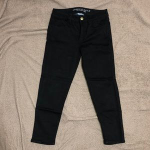 American eagle high rise crop jegging black size 4